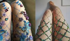 If you love fishnet, and sparkling like a magical forest queen, There's an Etsy shop that makes these breathtaking tights just for you!