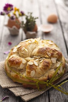 Easter bread with raisins and cranberries