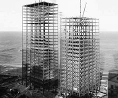 Mies van der Rohe's Lake Shore Drive apartments under construction in Chicago Ludwig Mies Van Der Rohe, Chicago Photos, Chicago Skyline, Modern Masters, Amazing Buildings, Chicago River, Under Construction, Architecture Details, Amazing Architecture