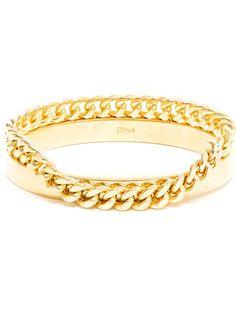 CHLOÉ - Gold Bangle and Chain Bracelet 4
