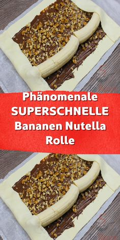 Phenomenal SUPERFAST banana nutella roll-Phänomenale SUPERSCHNELLE Bananen Nutella Rolle An ultra-fast sweet treat you can't resist: banana roll filled with Nutella. Mini Desserts, Lemon Desserts, Dessert Sushi, Baking Recipes, Cake Recipes, Low Fat Cake, Banana Roll, Snacks, Food Cakes