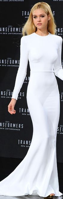 Nicola Peltz in Stella McCartney white gown
