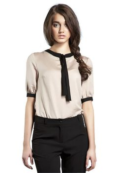 Look at this Beige & Black Tie-Neck Top Casual Outfits, Cute Outfits, Work Outfits, Tunic Leggings, Tie Neck Blouse, Mademoiselle, Professional Look, Beige, Classy Women