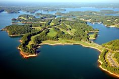 A stunning aerial view of the Islands of Lake Lanier. This resort offers a variety of places to stay to fit your needs. |  Legacy Lodge and Conference Center at Lake Lanier Islands, Georgia | Southern Living Handpicked Hotels