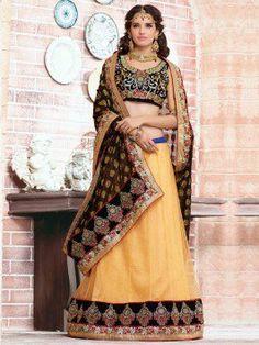 Cream And Black Net Lahenga Saree With Resham Embroidery Work (With Satin Inner)