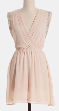 Cream Studded V-Neck Dress