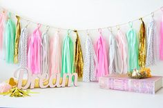 Hey, I found this really awesome Etsy listing at https://www.etsy.com/listing/218081550/mint-green-and-pink-tassel-garland-pink