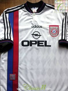 Relive Bayern Munich's 1995/1996 season with this vintage Adidas away football shirt.