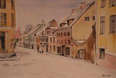 Keiu Kuresaar, Lai Street in Old Tallinn, watercolor and ink