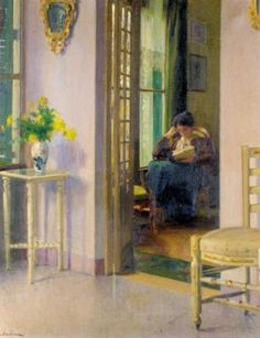 """La lectura (Reading by the window)"". Laureano Barrau (Spanish, 1863-1957). Oil on canvas."