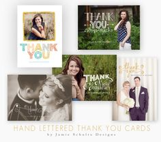 Hand Lettered Thank You Card Templates by Jamie Schultz Designs