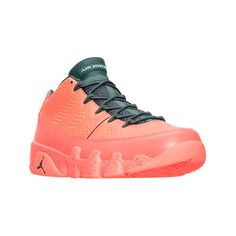 Nike Men's Air Jordan Retro 9 Low Basketball Shoes ($170) ❤ liked on Polyvore featuring men's fashion, men's shoes, men's athletic shoes, orange, mens leopard print shoes, nike mens shoes, mens leather athletic shoes, mens orange athletic shoes and mens leather shoes