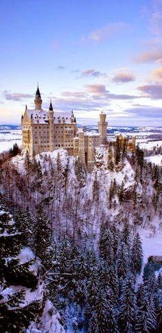 Neuschwanstein Castle is a nineteenth-century Romanesque Revival palace on a rugged hill above the village of Hohenschwangau near Füssen in southwest Bavaria, Munich, Germany