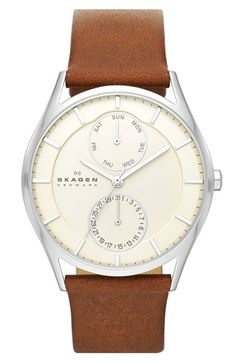 Skagen Multifunction Leather Strap Watch, 40mm (Nordstrom Exclusive) available at #Nordstrom