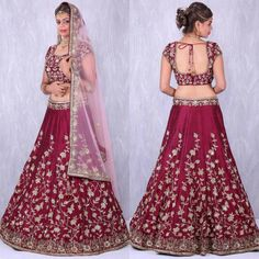 """Maroon Banglory Silk Lehenga Choli with Applique Embroidery work.  Code-7011  #LEHENGA (Semi-Stitched) FABRIC : Banglory Silk WORK : Applique Embroidery with Dori and Sequines. INNER : Shantoon FLAIR : 3.50mtr size : waist-44"""" height-44""""  #BLOUSE (Unstitched) FABRIC : Banglory Silk WORK : Applique Embroidery with Dori and Sequines. SIZE : up to 42""""  #DUPATTA FABRIC : Light Pink Net Work : Dori and Sequines Embroidery. Dupatta lenght 2.50mtr  Available only @ 3900 I.."""