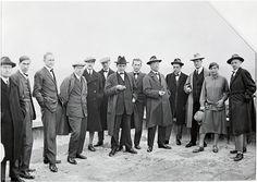 """""""Die Bauhausmeister auf dem Dach des Bauhauses in Dessau/Masters on the roof of the Bauhaus building,"""" c. 1926/1998    From left to right: Josef Albers, Hinnerk Scheper, Georg Muche, László Moholy-Nagy, Herbert Bayer, Joost Schmidt, Walter Gropius, Marcel Breuer, Wassily Kandinsky, Paul Klee, Lyonel Feininger, Gunta Stölzl and Oskar Schlemmer"""