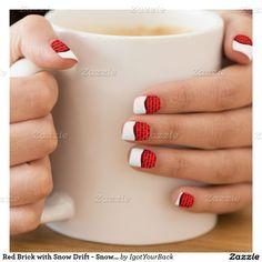 #ChristmasSnow - Red Brick with Snow Drift - Snowy Top Minx #NailArt by #IgotYourBack #zazzle #I_love_xmas #gravityx9