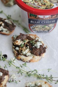 Small in size, but big in flavor, Blue Cheese Steak Crostini bites are the perfect party bite. Steak With Blue Cheese, Beef Appetizers, Blue Cheese Recipes, Beef Steak Recipes, Salty Foods, Steak Bites, Quick Recipes, Cheesesteak, Favorite Recipes