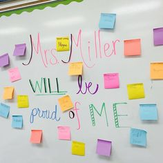 This is what you leave on your board when you love your new chalk markers and Post-Its when you're going to have a sub. I left a note for my sub to give sticky notes to students I would be proud of to place on the board. They wrote their name and proud shining moment on their note. I loved walking into our class and seeing all those sticky notes! It's a great visual reminder for my students to behave. @postit #stickynotes #substitute #teacher