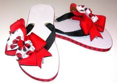 Red Lady Bug Boutique Flip Flops by PerfectlyPrissyInc on Etsy, $13.00