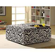 Decor Zebra Print Cocktail Storage Ottoman with Trays | Overstock.com $199