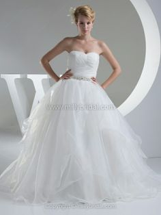 Ball Gown Sweetheart Organza Floor-length Sashes / Ribbons Wedding Dresses