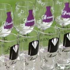 Wedding personalized souvenir glasses. Tux and dress what ever wedding colors would be No purple
