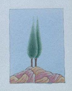 Cahide Keskiner - Minyatür Sanatında Doğa Çizim ve Boyama Teknikleri Tarama tekniğiyle boyanan iki servi ve kayalar