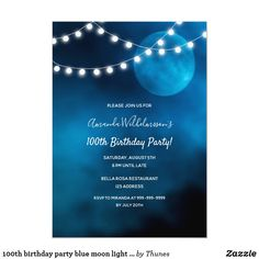 Shop Sweet birthday party blue moon light strings invitation created by Thunes. 21st Birthday Invitations, 90th Birthday Parties, Sweet 16 Birthday, Blue Moon Light, Carton Invitation, Party Lights, Blue Party, 30th, Moon Party