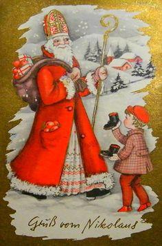 Ansichtskarte : Gruss vom Nikolaus [image retravaillée avec PhotoFiltre]