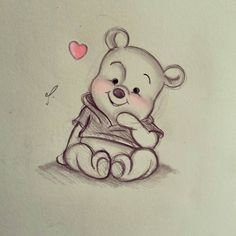 Disney Art~ Winnie the Pooh! - Disney Art~ Winnie the Pooh! You are in the right place about Disney Art~ Winnie the Pooh! Disney Drawings Sketches, Cute Disney Drawings, Art Drawings Sketches Simple, Cute Animal Drawings, Cartoon Drawings, Easy Drawings, Cartoon Art, Disney Pencil Drawings, Drawing Disney