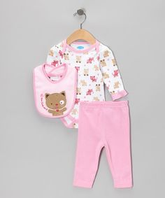 Take a look at this Pink Kitty Bodysuit Set - Infant by bon bébé on #zulily today!