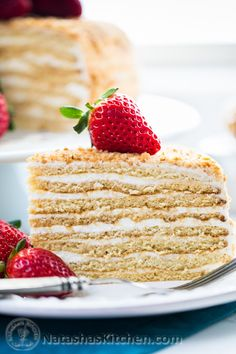 Honey Cake Recipe (Medovik) This honey cake is so soft and fantastic. The honey baked into the cake layers pairs perfectly with the simple sour cream frosting. It will WOW your crowd! Best Cake Recipes, Tea Recipes, Baking Recipes, Sweet Recipes, Favorite Recipes, Köstliche Desserts, Delicious Desserts, Dessert Recipes, Honey Cake Recipe Easy