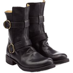 Fiorentini & Baker Calf Length Buckle Boots (427,250 KRW) ❤ liked on Polyvore featuring shoes, boots, black, genuine leather boots, black leather boots, pull on boots, chunky black boots and leather boots