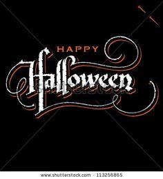 'halloween' hand lettering - handmade calligraphy, vector (eps8) by letterstock, via ShutterStock