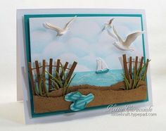 I have another beach scene to share with you today made using my new Impression Obsession Beach Fence, Small Grass, Sailboats, Flip Flops and Sea Birds. I love this new fence die. It reminds me so much. Impression Obsession Cards, Quilling, Nautical Cards, Beach Cards, Marianne Design, Pretty Cards, Masculine Cards, Card Tags, Greeting Cards Handmade