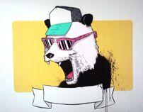 cool panda. acrylics on wall