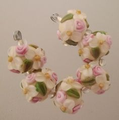 BLISS Vintage Day Wild Blossom and Rosebuds Lampwork Bead Set
