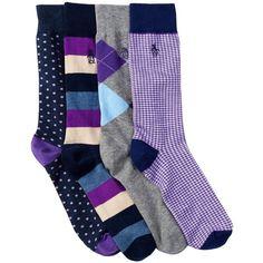 Original Penguin Purple Socks - Pack of 4 ($20) ❤ liked on Polyvore featuring men's fashion, men's clothing, men's socks, purple, mens patterned socks, mens purple socks, mens cotton socks, mens striped socks and mens polka dot socks