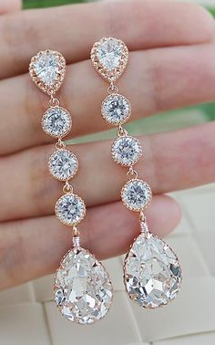 Show stopper wedding accessories. Rose gold bridal Earrings from EarringsNation
