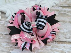 Pink and black glitter  stacked hair bow Bowchicks by fancybows, $10.50