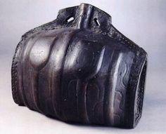 leather costrel of 'Tudor' date in the Ashmolean Museum, Oxford