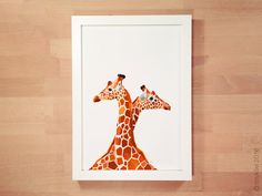 Giraffe illustration Giraffe pair African by tinykiwiPrints