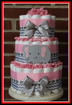 Baby elephant baby shower ideas pink elephant baby shower ideas 3 tier pink and gray elephant diaper cake for a girl baby girl elephant baby shower ideas Elephant Baby Shower Favors, Elephant Diaper Cakes, Baby Girl Elephant, Baby Girl Shower Themes, Girl Baby Shower Decorations, Elephant Baby Showers, Elephant Decorations, Pink Elephant, Elephant Theme