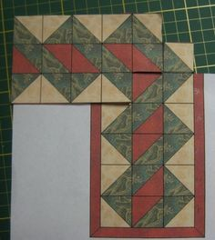 "An interesting border design and quite simple to execute. Uses HST or it could be re-drafted to elongate the ""weave"".:"
