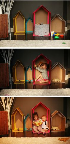 I love this idea from adventures in pinksugarland , so great!   The Cardboard Houses steps here