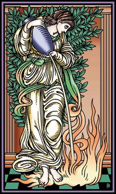 Temperance-keeping the fire alive yet restraining it with water of spirit lest if shall eat you alive. Tarot Temperance