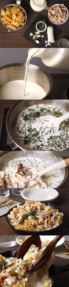 Macaroni and cheese with roasted chicken, goat cheese and rosemary ...