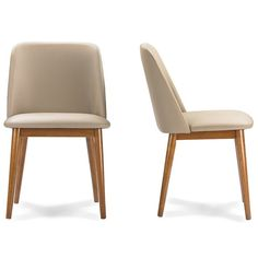 """Baxton Studio Lavin Mid-Century Faux Leather Dining Chair in """"Walnut"""" Light Brown/Beige (Set of - The Home Depot Faux Leather Dining Chairs, Solid Wood Dining Chairs, Upholstered Dining Chairs, Dining Chair Set, Dining Table, Dining Rooms, Plastic Adirondack Chairs, Mid Century Dining Chairs, Decoration"""