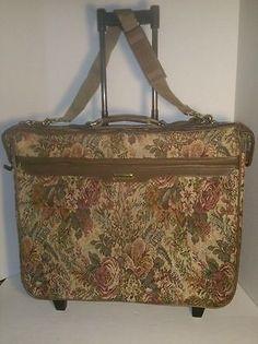 Garment Suit Bag pull behind Luggage Jaguar Tapestry Rose and green Floral big